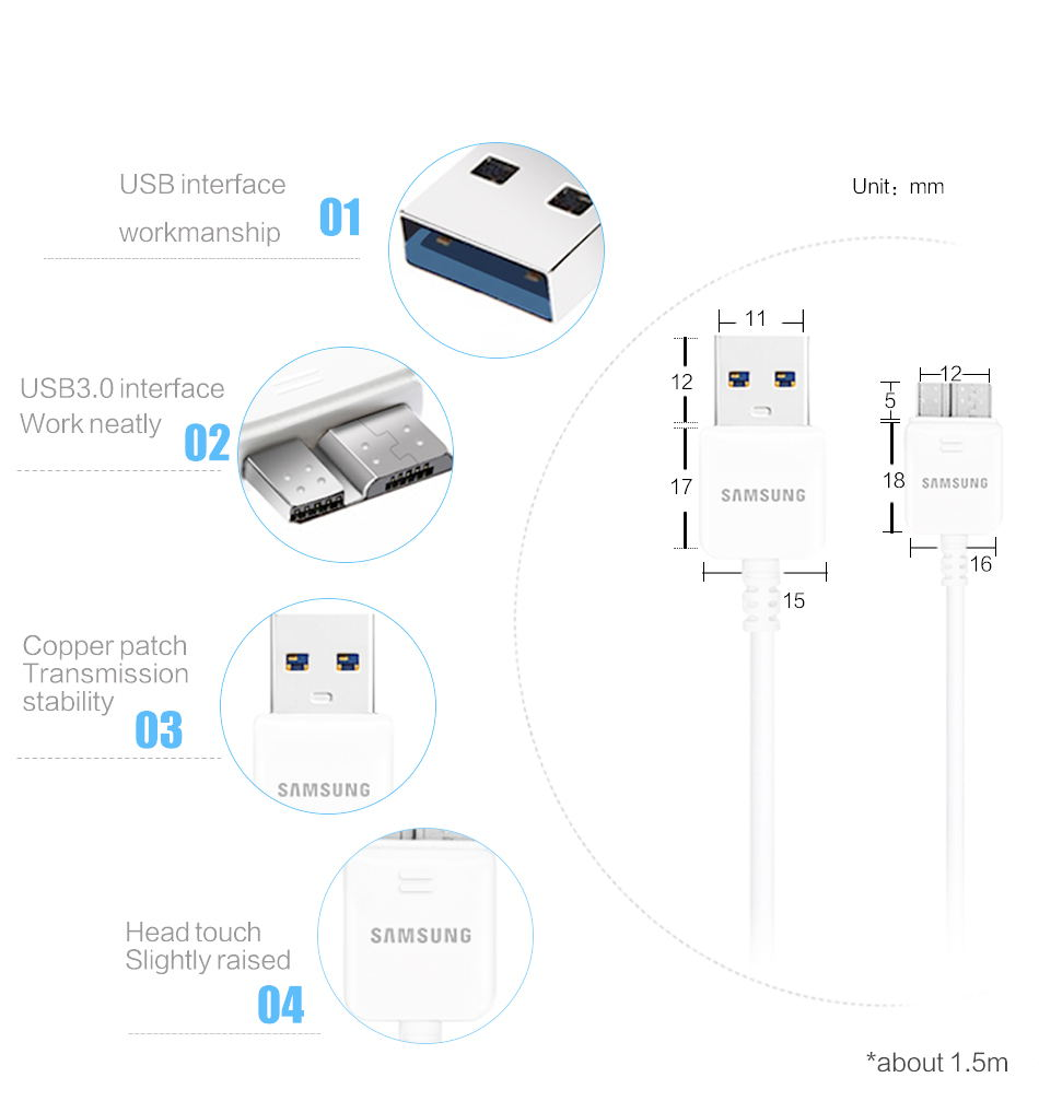 3Samsung Galaxy S5 Note 3 Phone Charger 5.3 V & 2.0A EU US 1 m 3.0 USB Micro cable Original Travel Adapter Phone_