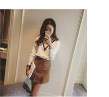 New Fashion Suede Skirts Women 2018 Autumn And Winter High Waist A Word Skirt Oblique Zipper Mini Skirt Large Size Female Faldas