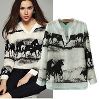 2014 Autumn New Arrival Woman Fashion Ink Horse Gallops Print Blouse Female Casual V Neck Long