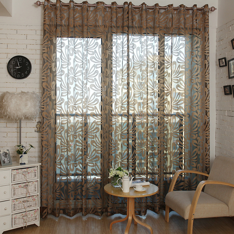 Geometric Modern Window Sheer Curtain Panels For Living