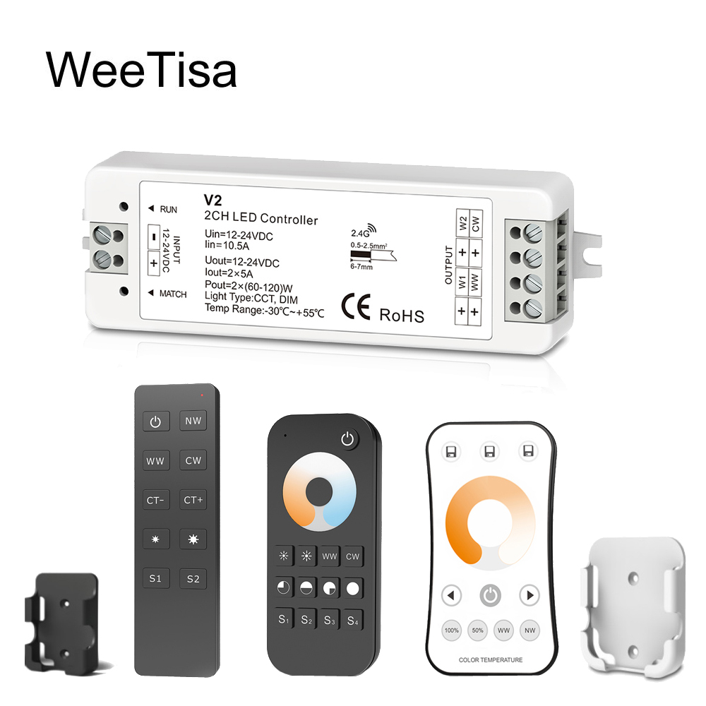 LED <font><b>Dimmer</b></font> CCT Switch <font><b>12V</b></font> 24V 10A 2CH 2.4G WW CW Single Color LED Strip Light RF Wireless <font><b>Remote</b></font> Wifi Smart 12 Volt Controller image