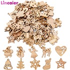 100pcs Wooden 2019 Christmas Decorations Mini Tree Ornaments Santa Claus Snowman Deer Xmas Party Decoration for Home New Year