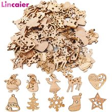 50pcs Wooden 2019 Christmas Decorations Mini Tree Ornaments Santa Claus Snowman Deer Xmas Party Decoration for Home New Year(China)