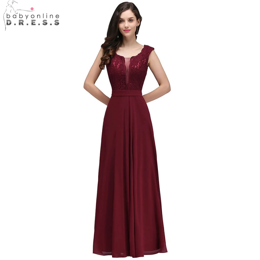 Babyonline O Neck Lace Chiffon   Evening     Dresses   2019 Sleeveless Formal Party   Dresses   Burgundy Long Prom vestido de festa