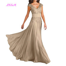 Deep V-Neck Cap Sleeves Long Chiffon Mother of the Bride Dresses Elegant Lace Appliques Dress for Weddings Evening Gowns