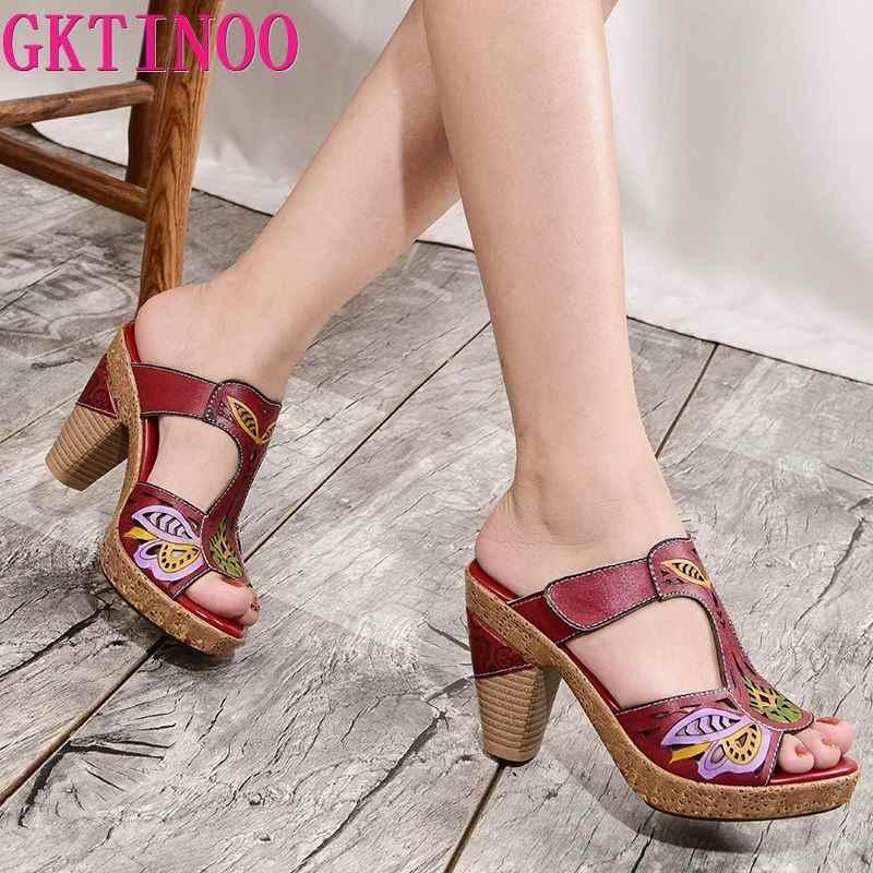 GKTINOO 2019 Female Shoes High Heel Slides Shoes Woman Peep Toe Genuine Leather Casual Slides Sandals Lady Slipper Plus Size