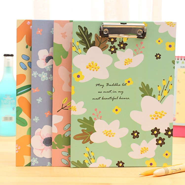 1PC Cute Flower Folder Board Tablet Holder Paper Writing Pad Clipboard for Child Gift Office School Supplies Stationery classic office school manager paper clipboards stationery fine a4 school writing pad document manager folder with pen holder