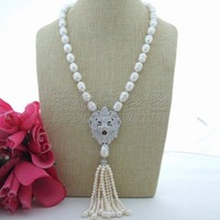 N071403 23 White Rice Freshwater Pearl Necklace Lion CZ Pave Pendant
