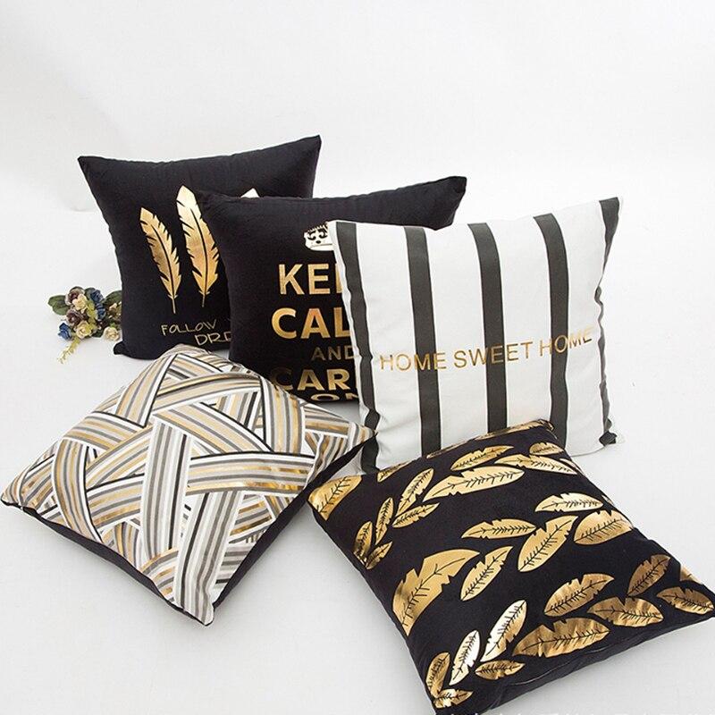 1 Pc Flanellen Bronzing Kussenhoes Goud Brief Gedrukt Zwart Wit Kussensloop Sofa Decoratieve Gooien Kussenslopen Home Decor Pure En Milde Smaak