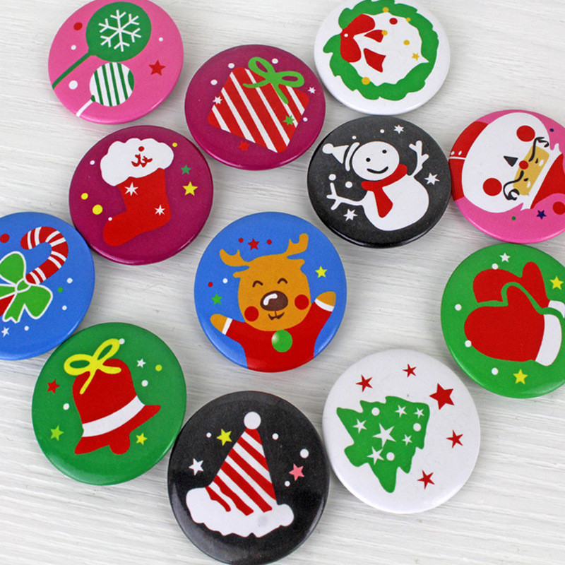 HAOCHU 12Pcs 4cm Christmas Brooch Pins on Clothes/Bags Accessories Badges DIY Kids Crafts/Gifts Santa Xmas Event Party Iron