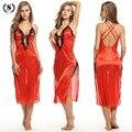 Сексуальные женщины ночное белье Кружева Длинные ночные рубашки женщин соблазн рукавов юбки шелковый атлас пижамы белье плюс размер ночное платье