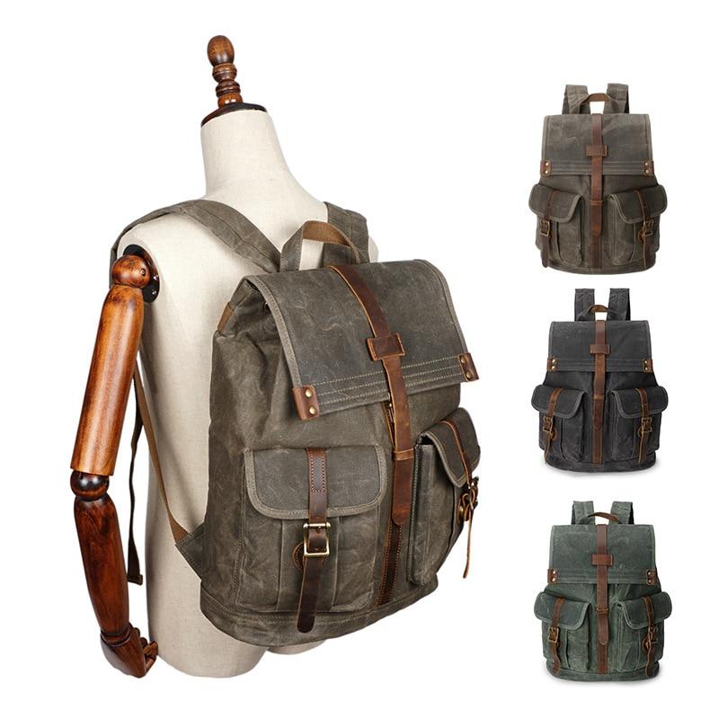 Image 5 - Retro Backpack Men Waterproof Oil Wax Canvas Drawstring School  Rucksack Shoulder Vintage Travel Bagpack College Laptop Bag  BeltsBackpacks