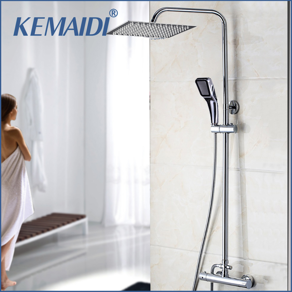KEMAIDI Bathroom Thermostatic Bathtub Shower Water Tap Faucet Mixer Tap 8 16 Inch Rainfall Shower Head