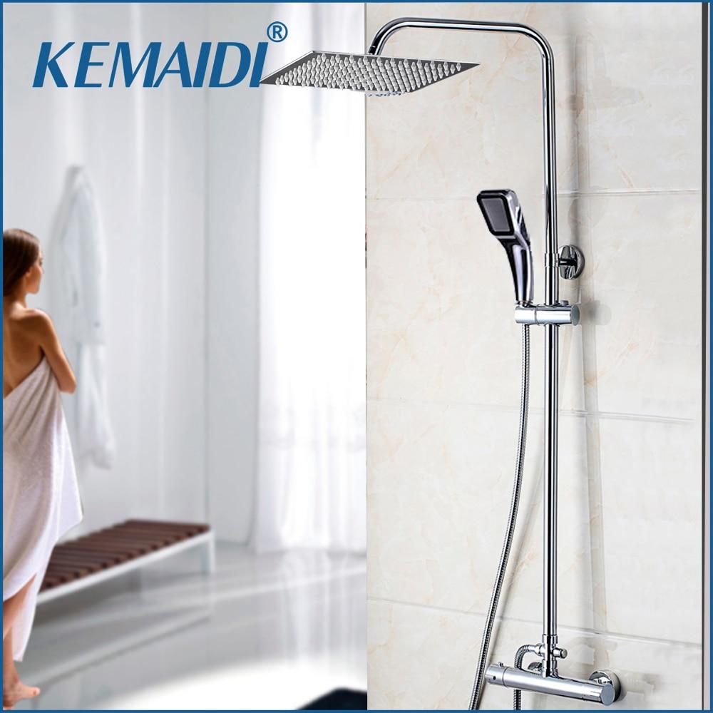 KEMAIDI Bathroom Thermostatic Bathtub Shower Water Tap Faucet Mixer Tap 8 16 Inch Rainfall Shower Head Shower Set