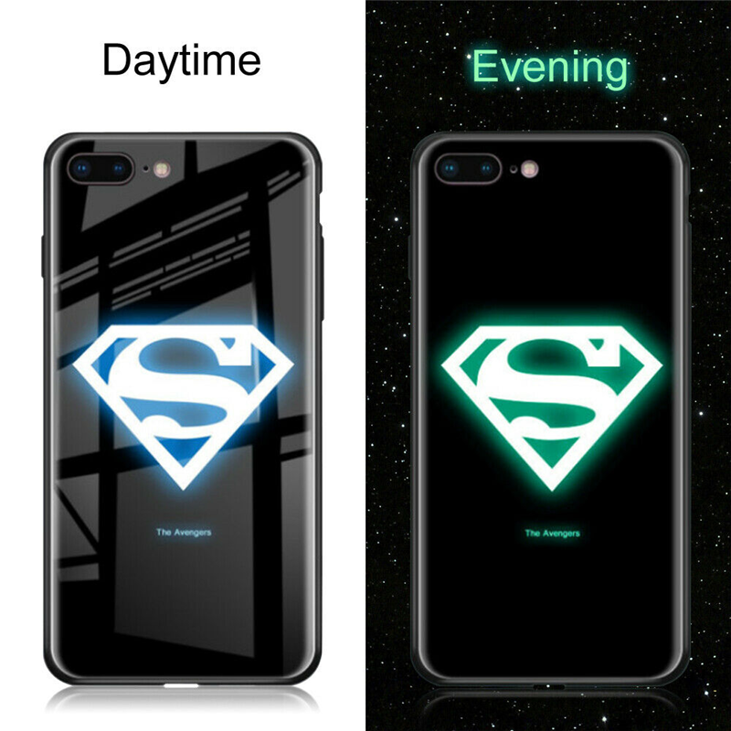 Marvel Comics Iron man Superman S LOGO Luminous Case For iPhone XS MAX XR 8 7 6 6s Plus X Tempered Glass Phone Coque Night Light
