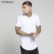 YEMEKE Men Brand gyms t shirt Fitness Bodybuilding font b Slim b font fit Cotton Shirts
