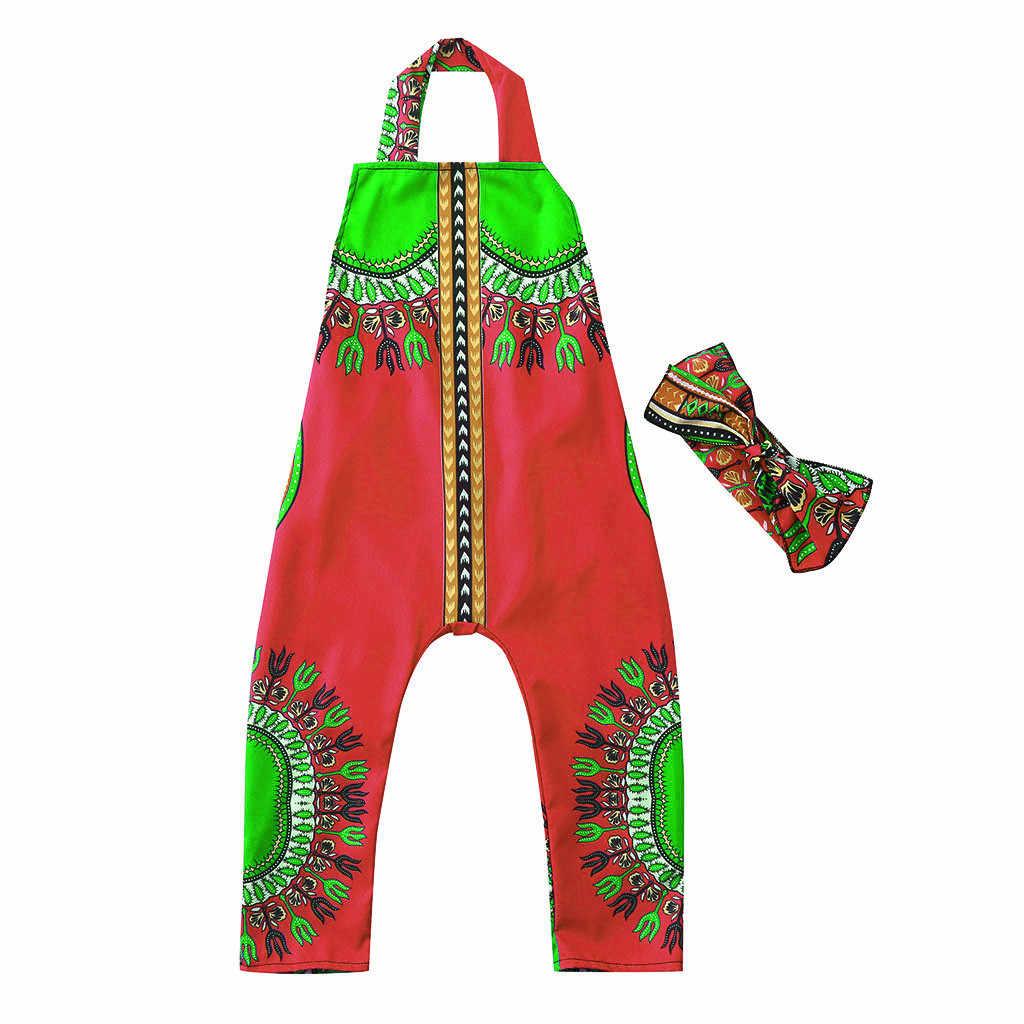 Летняя одежда для маленьких девочек; Повседневная хлопковая безрукавка с принтом в африканском стиле; топ на бретелях; комбинезон; повязка на голову; комбинезон; одежда