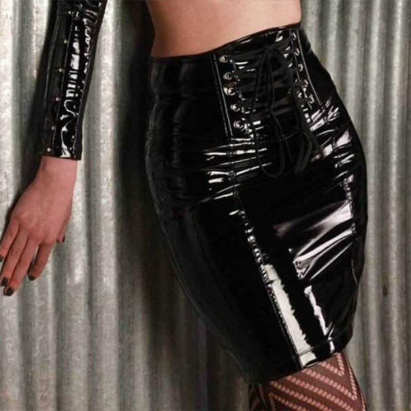 Women 39 S Sexy Black Pvc Skirt European And American Style