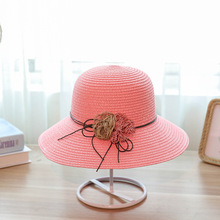 Hot Sale Round Top Wide Brim Straw Hats Summer Sun for Women With Leisure Beach Flat Bowknot Caps 2019 Female
