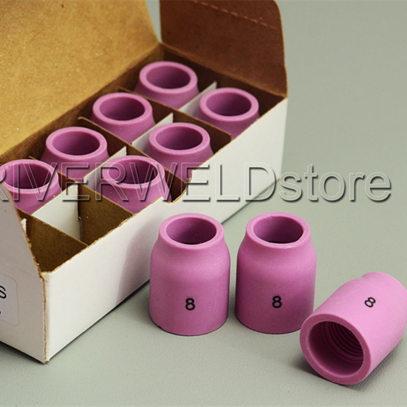 TIG Alumina Nozzle Gas Lens Ceramic Shield Cups 53N61S 8# Fit Welding Torch Accessories SR PTA DB WP 9 20 25 Series 10pcs
