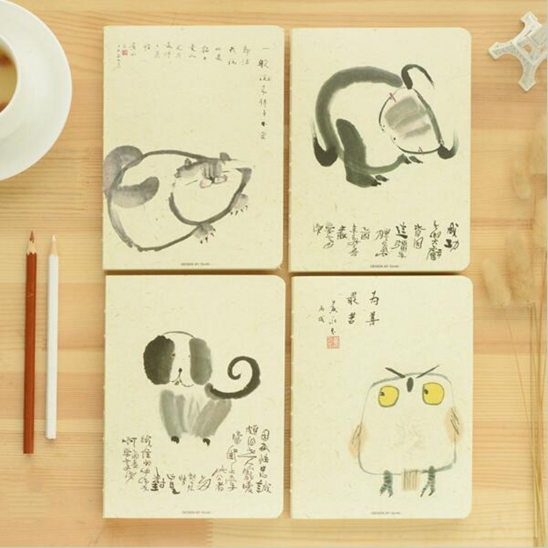 4Pcs/Lot Creative Cute Kawaii Animal Sketch Notebook With Blank Paper For Painting Drawing Kids Gift Office School Supplies 6193 carton cute kawaii animal computer screen message board with scale for memo pad acrylic sticky note board office supplies