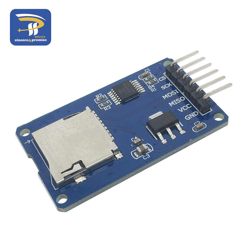 Mini módulo de leitor de cartão sd tf, interfaces com chip conversor de nível 5 v/3.3 v para kit diy arduino