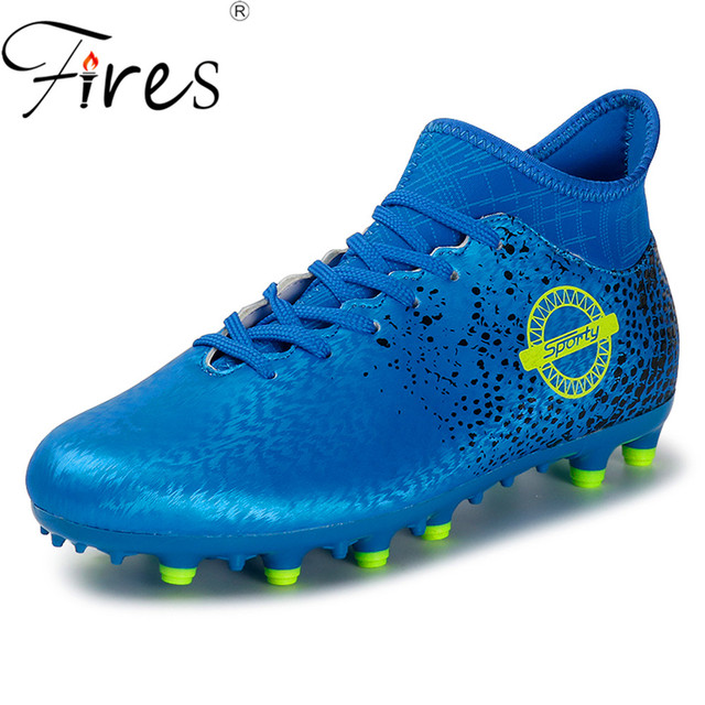 4299e11e7f6a Fires Men s Football Boots High Ankle Long Spikes Soccer Shoes For Man  Profrssional Outdoor Kid Train Sock Cleats Football Shoes