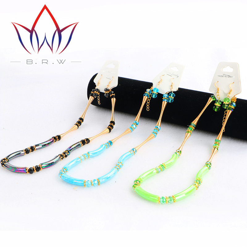BRW Necklace Set for Women African Beads Imitated Crystal Jewelry Sets Gold Plated Pendant Earrings Wedding Acceessories WYA173