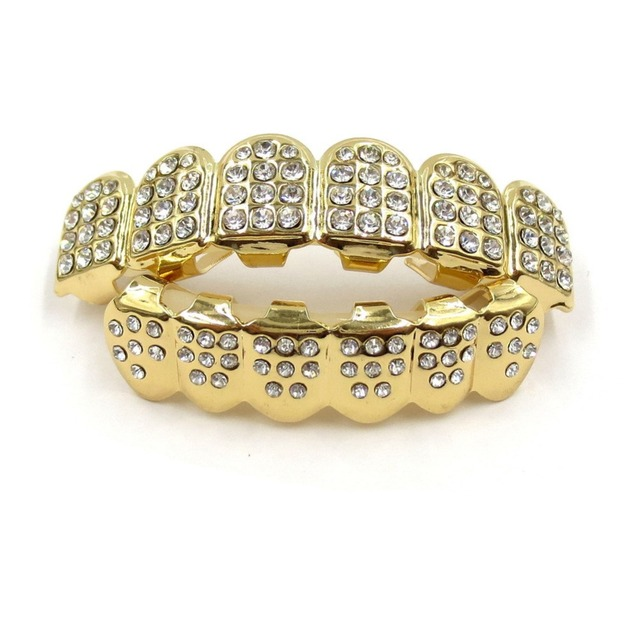 gold teeth grills top bottom tooth caps grill set hip hop