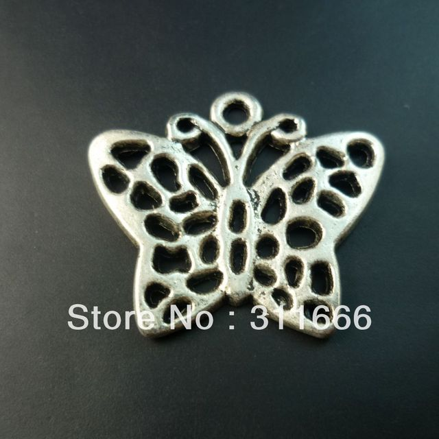 80 pcs/lot butterfly tibet silver floating charms pendants Free shipping