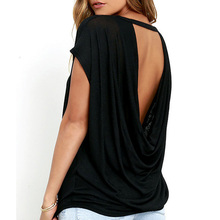 Bigsweety Hot Sale Women Casual Backless Short Sleeve TShirt Summer Casual Loose O-neck Top