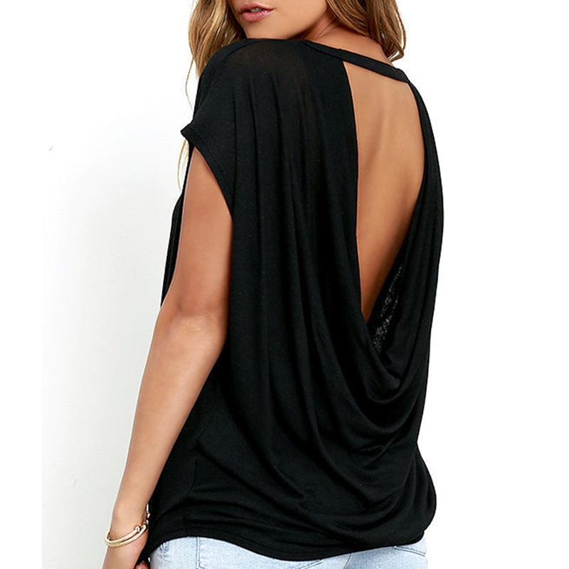 Bigsweety Hot Sale Women Casual Backless Short Sleeve TShirt Summer Casual Loose O-neck Tops Tees Black white Open Back T Shirt