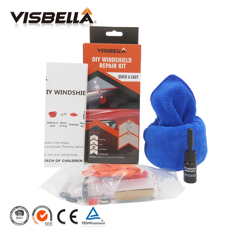 Visbella DIY Windshield Repair kit Windscreen Glass Fix Set for Car Repair Tools Scratches Chips Cracks Restore with cloth