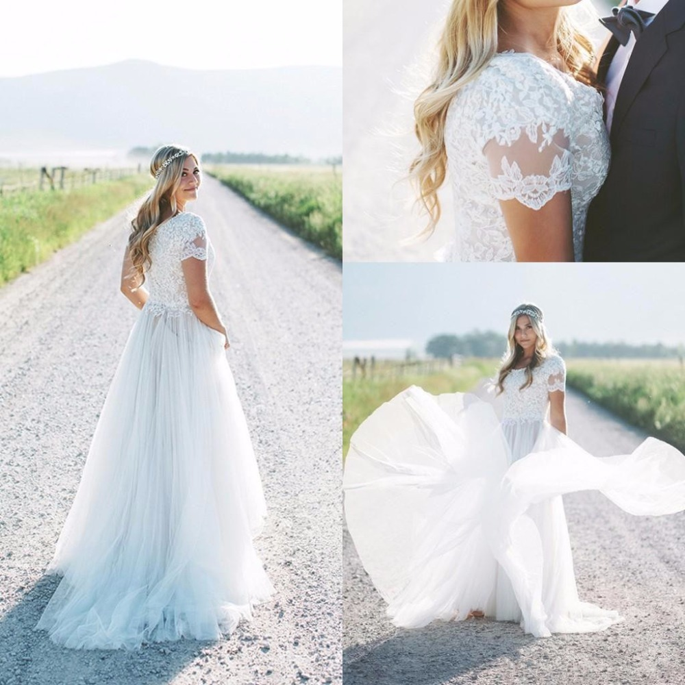 2019 Wedding Dresses With Sleeves: Modest Beach Boho Wedding Dresses 2019 Short Sleeves Tulle