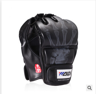 Prix pour Vente chaude 2 couleurs Half Finger gants de Boxe Sanda Gants de Combat Sacs de sable Faite de Haute Qualité PU en cuir Livraison Gratuite