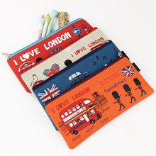 1PC I Love London Pencil Case Oxford Cloth Pencil Box Cartoon Soldier Pencil Bag Office Supplies Stationery Kawaii Gift(China)