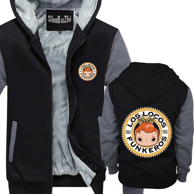 Fashion Winter Thick Fleece Zipper men Hooded Sweatshirts Unisex Jackets Los Locos Funkeros SDCC 2018 shubuzhi mens warm hoodies