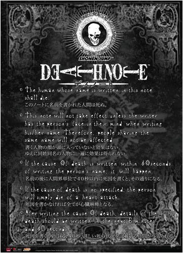 Death Note Rules Poster / Canvas