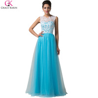 Grace Karin Lace Evening Dresses Long 2016 Blue Women Prom Dresses Long Evening Gowns Wedding Party