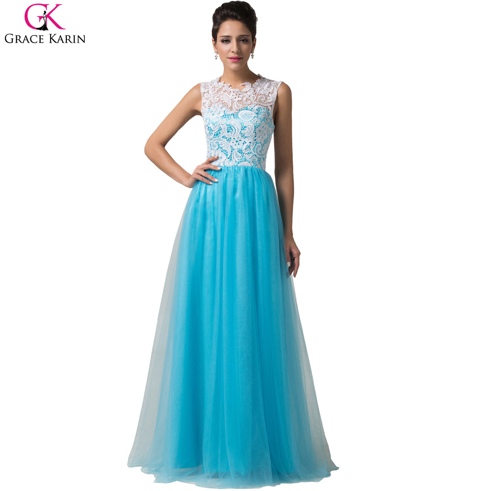 Grace Karin Lace Evening Dresses Long 2017 Blue Women Prom Dresses ...