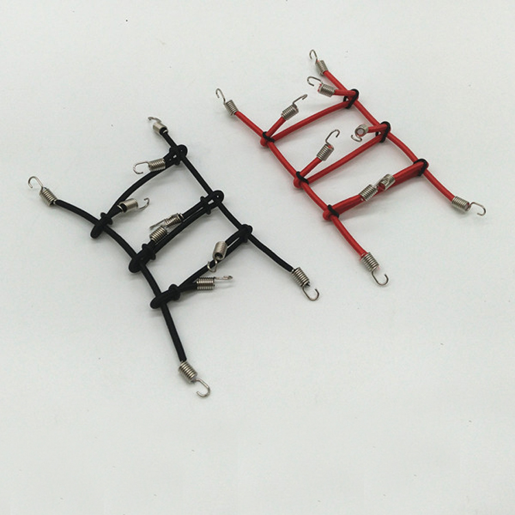 1pc 1:10 RC Model Cars Decorations For D90 SCX10 Climbing Car Luggage Rack Tied Rope Fixed Spring Rope Red/Black