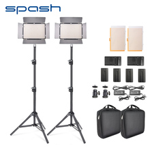spash TL-600S 2pcs LED Video Light Studio Photo Photography Lighting Lamp led Panel Lamp with Tripod 3200K/5500K NP-F550 Battery