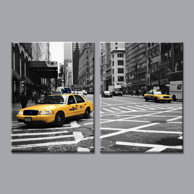 2 pe a moderne home decor new york taxi jaune cinqui me avenue voiture photos sur le mur toile. Black Bedroom Furniture Sets. Home Design Ideas