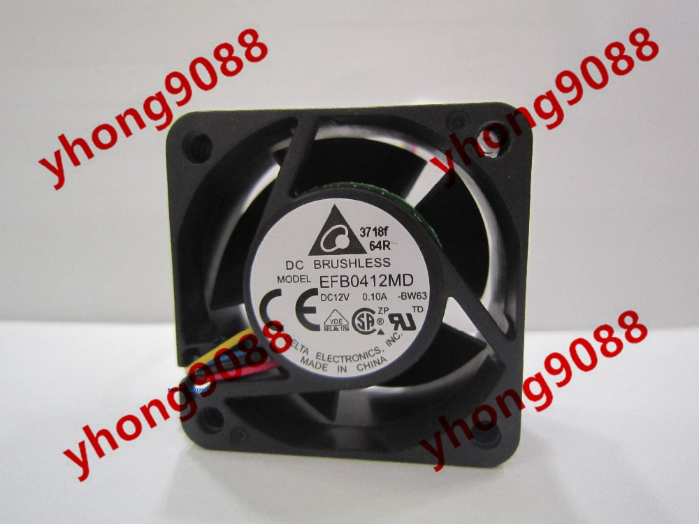 Free Shipping For Delta EFB0412HD -BW63 DC 12V 0.10A 3-wire 3-pin connector 40X40X20mm Server Square Cooling Fan free shipping for delta afc0612db 9j10r dc 12v 0 45a 60x60x15mm 60mm 3 wire 3 pin connector server square fan
