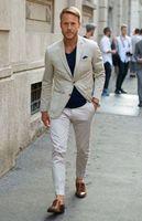 Latest Coat Pant Designs Beige Linen Men Suits Casual Summer Custom Slim Fit Beach style 2 Pieces Blazer (Jacket+Pants)