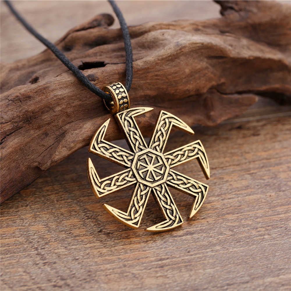 Dawapara Slavic Kolovrat Symbol Pagan Jewelry Sun Wheel Amulet Pendant Slavic Necklace