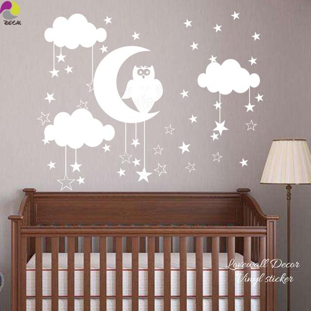 Eule Sterne Mond Wolke Wandaufkleber Baby Kindergarten Tier Natur ...