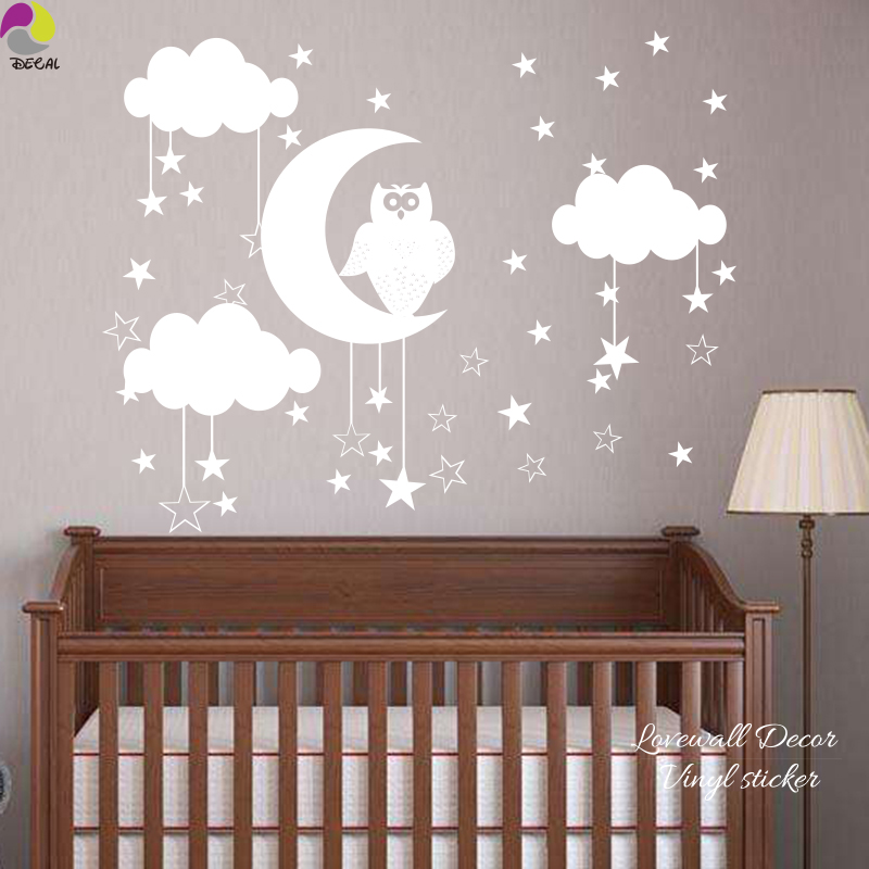 Owl Star Moon Cloud Wall Sticker Baby Nursery Animal