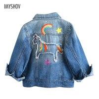 2018 Autumn Winter Denim Jacket For Girls Coats Baby Kids Girls Jackets Rainbow Unicorn Embroidered Children Outerwear Clothing