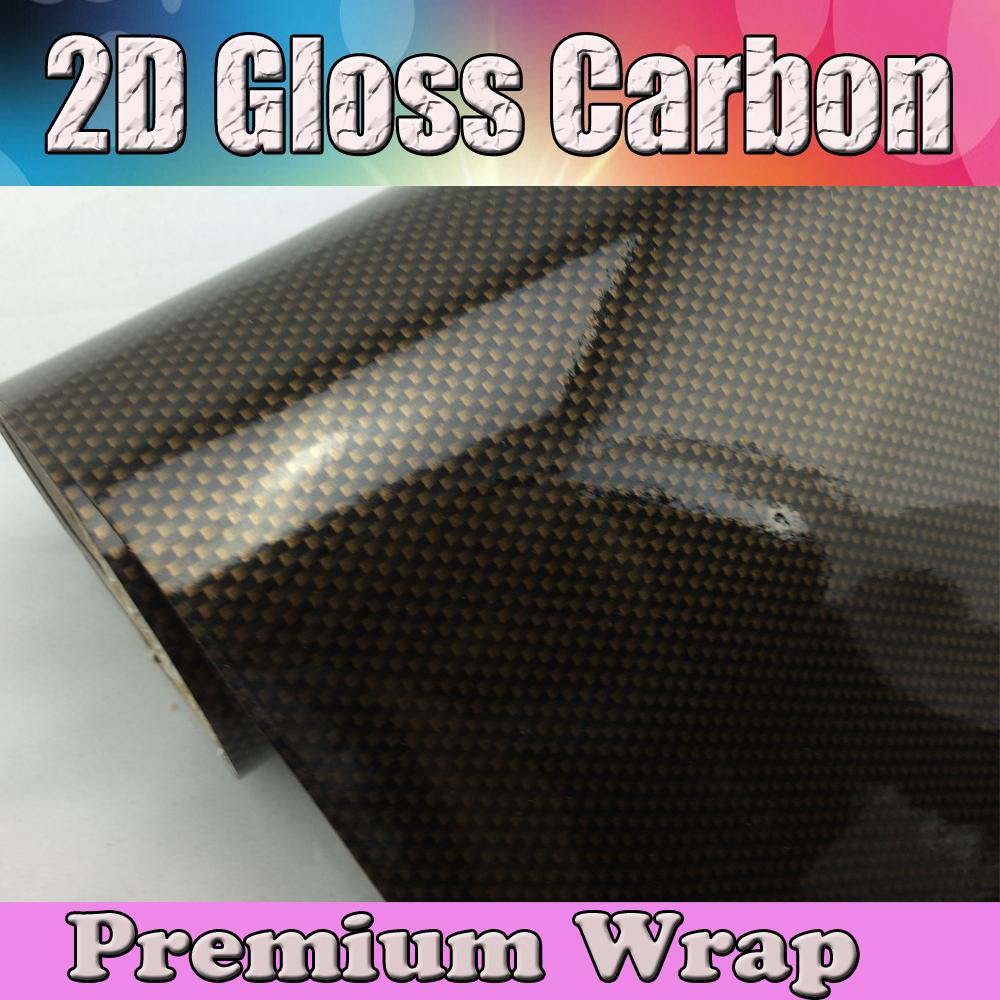 Gold 2D Glossy carbon fibre vinyl flat real glossy carbon fiber sheets water transfer film (1)